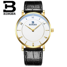 Switzerland Binger fashion leather strap watch man casual brand quartz watches men's wrist watch hour for male Wristwatch