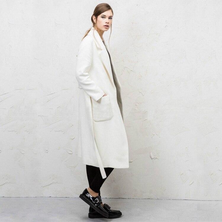 2018 осень-зима модные длинные Шерстяное пальто Для женщин Элегантный пояс белый кашемировые пальто женский тонкий пальто ветровка