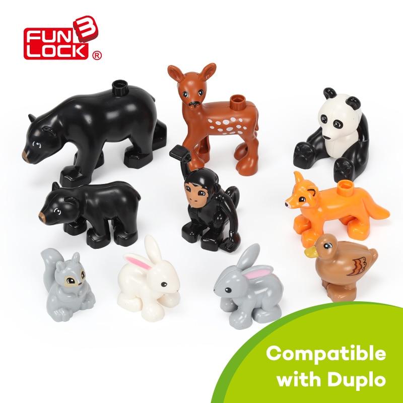 Funlock Duplo Toys Jungle Animal 10pcs set Blocks Parts Building Educational For Kids