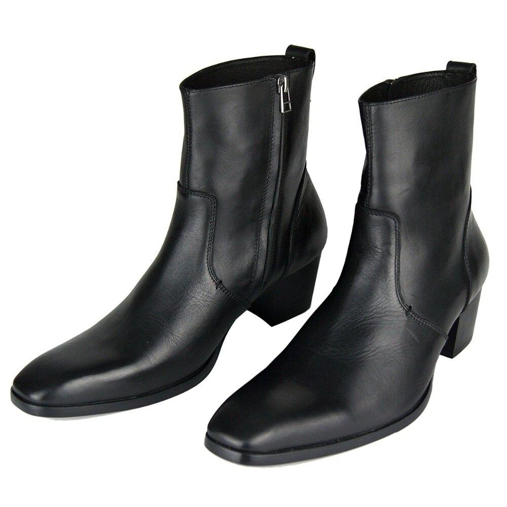 حقيقية جلد البقر الوثن الأحمر أسفل الكعب العالي مربع تو رجل منتصف العجل الأحذية الرجال حزب الأحذية زيادة ارتفاع 5 سنتيمتر ، اليدوية على  مجموعة 1