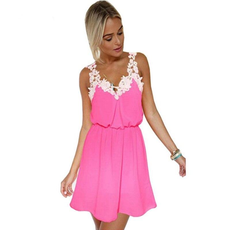 Lace Patchwork Chiffon Dress Women Summer Sexy Tank Dresses Elastic Waist Elegant Appliques Causal Pleated Dress Big Size