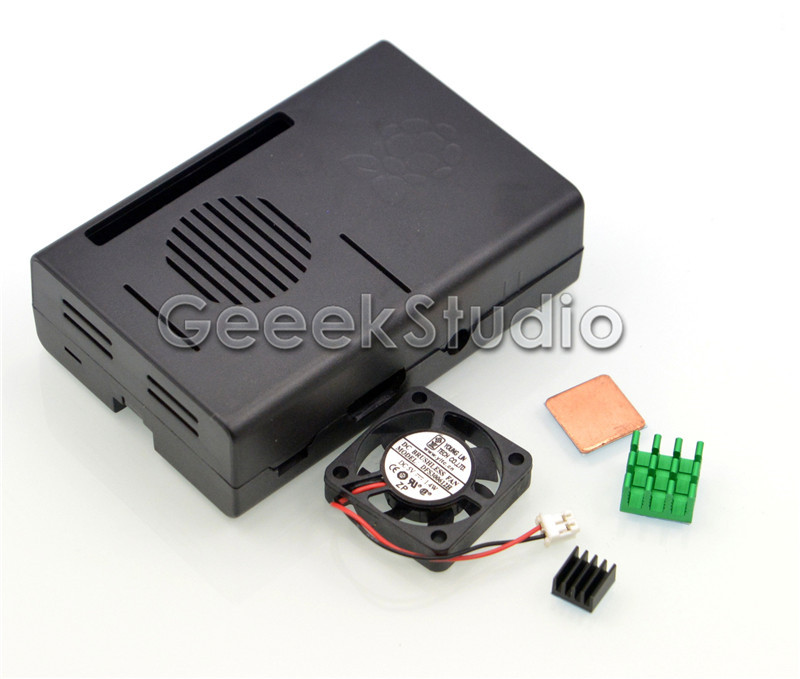 Black ABS Case Cover Enclosure Box Cooling Fan For Raspberry Pi2 3 Model B+