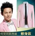 M-XXXL!! 2016 Rosa traje masculino chaqueta delgada primavera y otoño prendas de vestir exteriores ropa de los hombres más tamaño traje de los trajes de la etapa de acogida