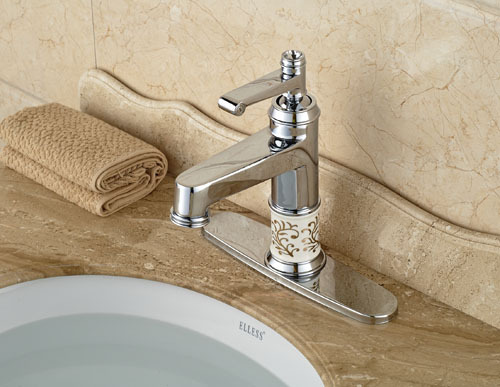 ФОТО European Style  Chrome Finish Single Lever  Bathroom Faucet Bathroom Basin Mixer Tap With Hole Cover Plate