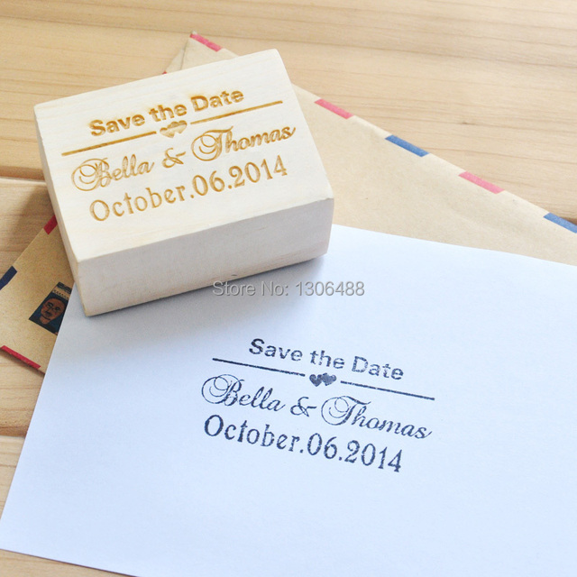 Personalized Wedding Stamp Wood Invitation Save The Date Customize With