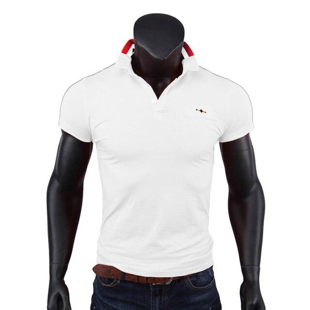 Hommes Polo Chemise Bouton Avant Manche Courte T-Shirt Mince Fit Tee Shirts Tops Blanc M 1tdTXn