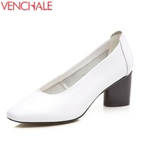VENCHALE Fashion Pumps Women Round Toe Good Quality Shoes Ladies Genuine Leather Retro Style Dress Footwear