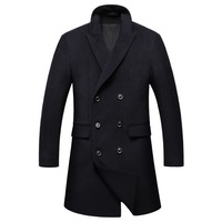 Shanghai Story 2018 Winter Slim Double Breasted Mens Peacoat Business Long Mens Coat Casual Fashion Mens Wool Jacket