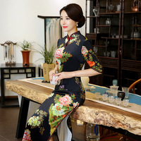 Autumn Winter Long Section Cheongsam Dress Mother Dress Daily Banquet Retro Improvement Costumes Chinese Style Plus