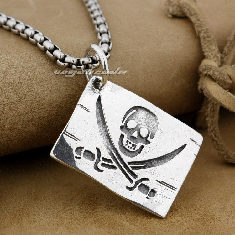925 Sterling Silver Pirate Skull Dog Tag Mens Biker Rocker Pendant 9H018A(Necklace 24inch) цена