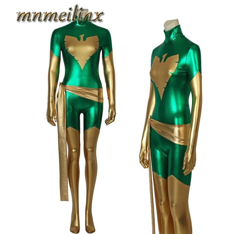 2018 Newest X-men Phoenix Jean Green Cospaly Costume 3D Printed Superhero Cosplay Zentai Jumpsuit for Halloween Unisex Clothes