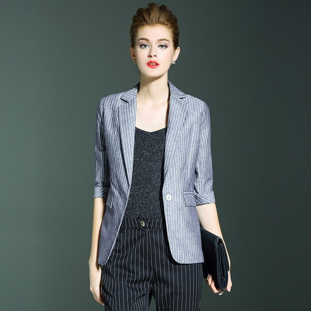 Blazers Women Suit 80% Linen 20% Silk Striped Three-quarter Sleeves Single Button High Quality Work Clothing 2018 New Fashion