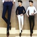 2016 Fashion Men Dress Pants Male Skinny Slim Fit Trousers All Match Applique Cotton Trousers Mid Waist White Men Suit Pants