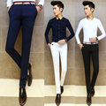 2016 Hombres de La Manera Visten Pantalones Flacos Masculinos Pantalones Slim Fit todas Correspondan Applique Pantalones Mediados de Cintura de Algodón Traje de Los Hombres Blancos pantalones