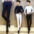 2016 Homens Da Moda Vestir Calças Skinny Masculina Calças Slim Fit toda a Partida Applique Calças de Algodão Meados Cintura Terno Dos Homens Brancos calças
