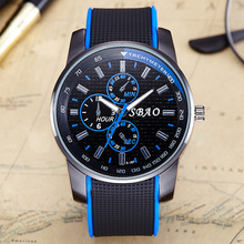 2017 new fashion casual personality trendy mens large dial belt quartz watch