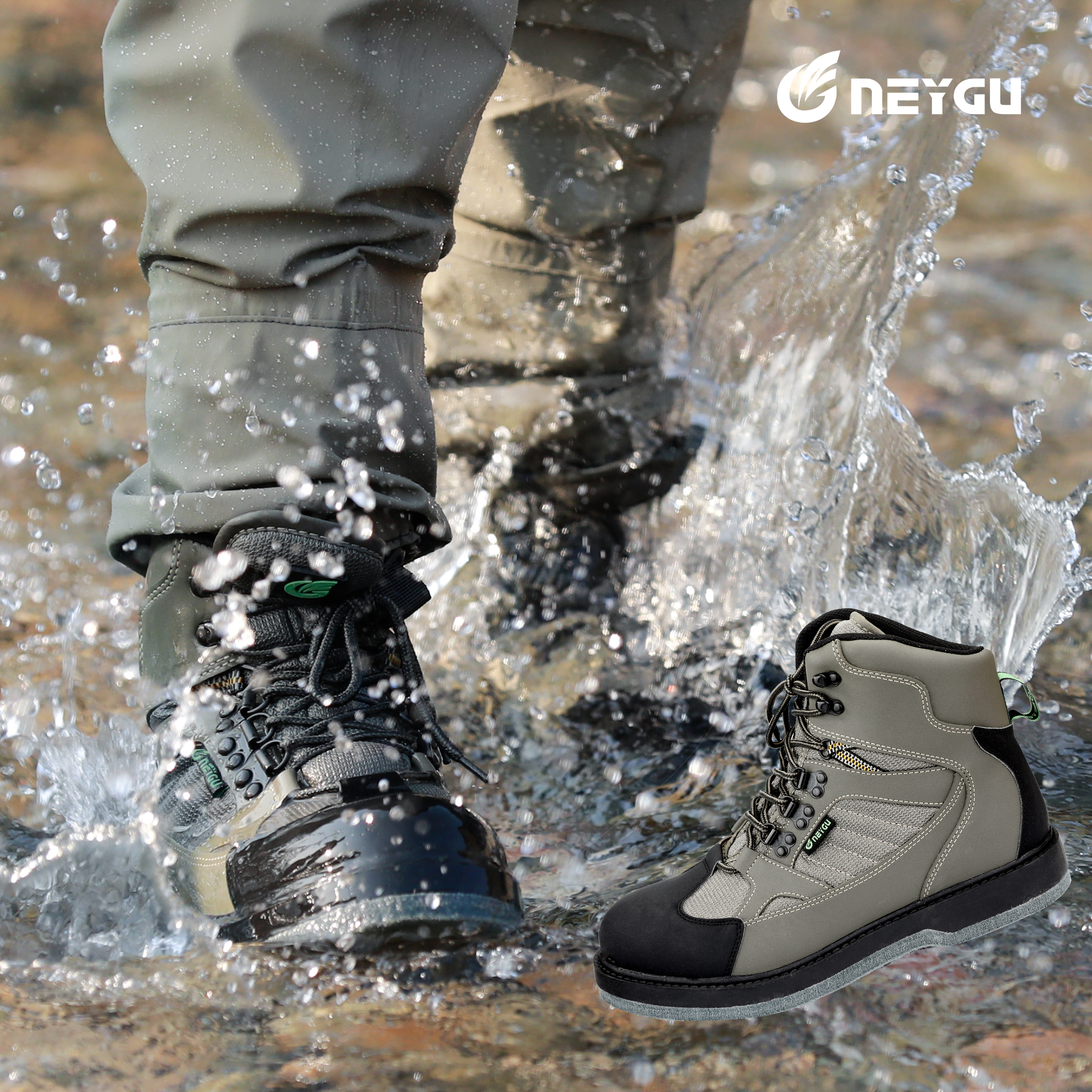 NeyGu Wading Boots For Rafting, Fishing; The Wader Boots Have Felt Sole, Rubber Sole Options ; Camo Wading Shoes Fit For Hunting