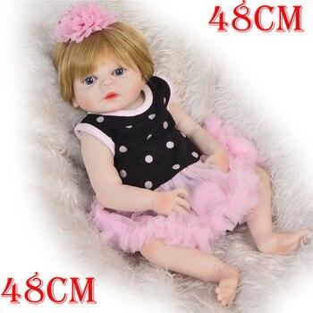 "19"" reborn Baby Doll Princess Girl  full body Soft Silicone Babies Girls Lifelike real born dolls bebe bonecas reborn menina"