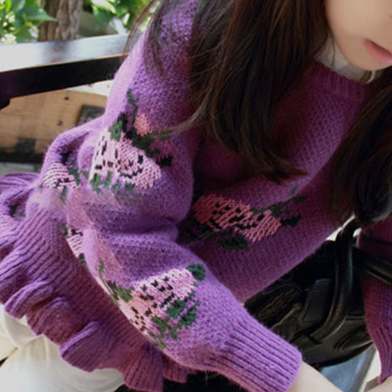 New Design Girls Sweater 2018 Winter Knitting Child Sweaters High Quality Kids Pullovers Coat Embroidery Flower Top Girl Costume