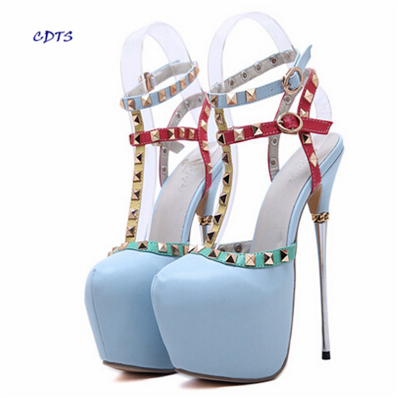 zapatos mujer double T strap Sandals Summer 16cm high heeled Round Toe shoes woman metal thin