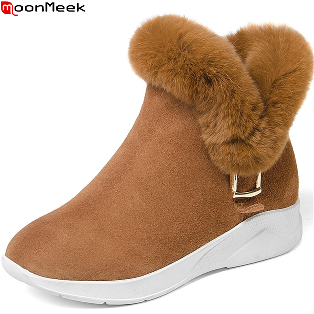 MoonMeek black winter new arrive women boots round toe zipper cow suede snow boots buckle wedges leather ankle boots fur superstar cow suede tassel leather boots platform zipper med heels rivets snow boots round toe mid calf boots for women l2f7