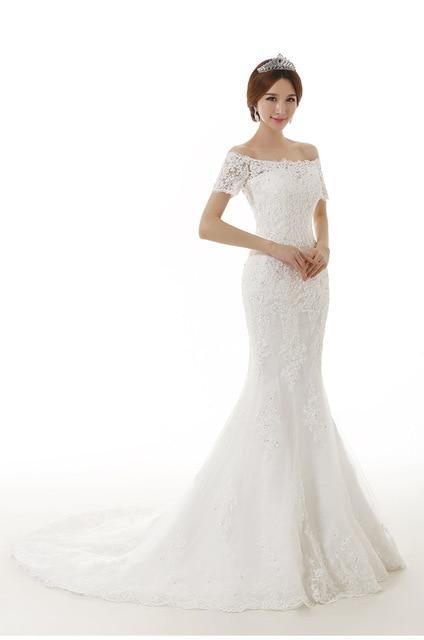 Vestido De Novia 2015 Fashion Bride Luxury Lace Short Sleeved Slim