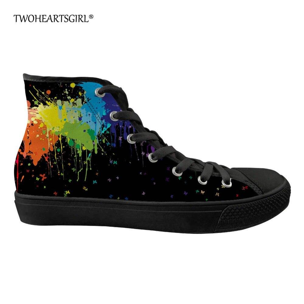 Twoheartsgirl Haut Haut Hommes Vulcanisé Baskets Graffiti Coloré Chaussures de Toile pour Hommes Personnalisé Hommes Chaussures de Toile Plate