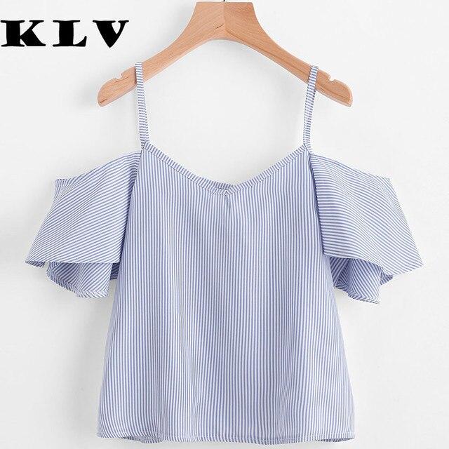 29e4db9ec3 KLV Mulheres Verão Blusa Riscas Top Ombro Frio roupas baratas china blusas  blusas mujer verano 2017