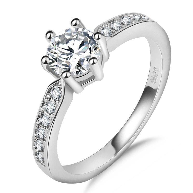 Utimtree S925 стерлингового серебра обручальные кольца для женщина полосы ювелирные изделия из австрийского хрусталя Обручение Promise Ring аксессуа...