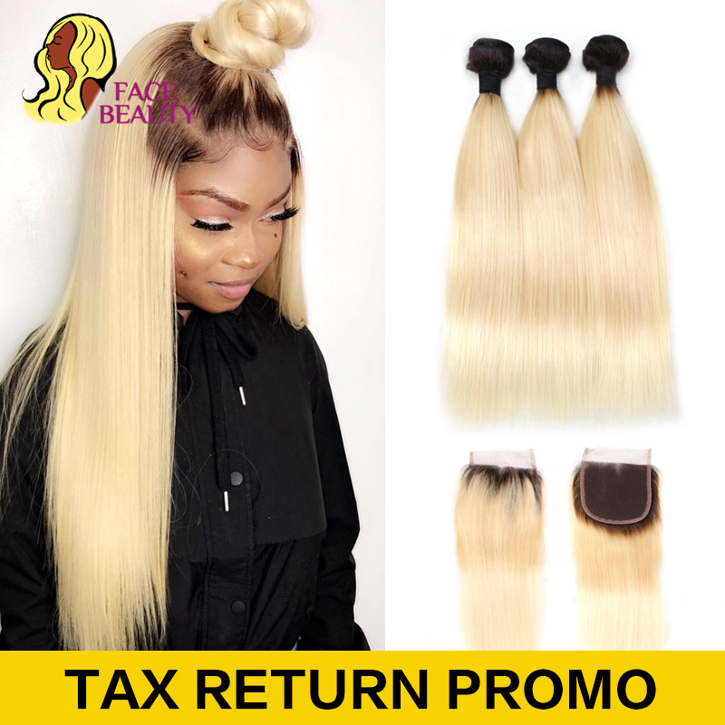 Hair Extensions & Wigs 3/4 Bundles With Closure Honey Blonde Bundles With Closure 3 4 613 Body Wave Brazilian 100% Human Hair Iwish Remy Hair Blonde Weave