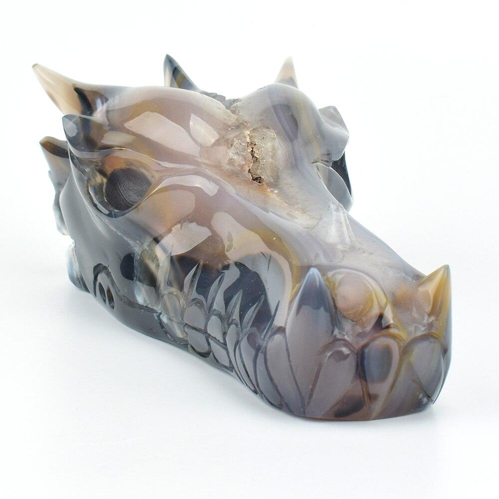 Énorme 7 ''naturel géode Agate sculpté cristal tête de Dragon crâne Statue réaliste guérison pierre Sculpture artisanat Sculpture décor à la maison