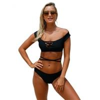 Bsubseach 2019 new Push Up Bikinis women Black Strappy Crisscross 2pcs Tankini Swimsuit Sexy Low Waist Brazilian Swimwear 410213