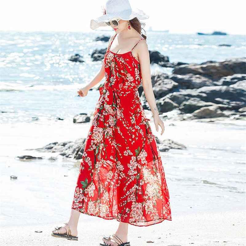 ¡Novedad de 2019! Vestidos largos sin mangas de playa de estilo bohemio de chifón para mujer, Vestidos M278
