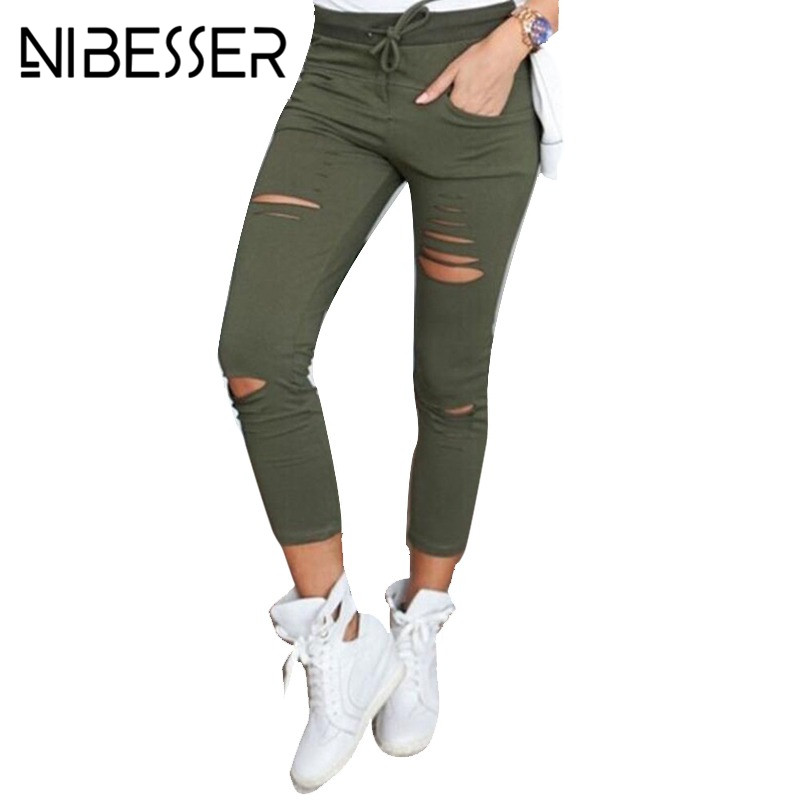 Jeans Trousers Pencil-Pants Jegging Stretch Skinny Ripped High-Waisted Denim Ladies Cut