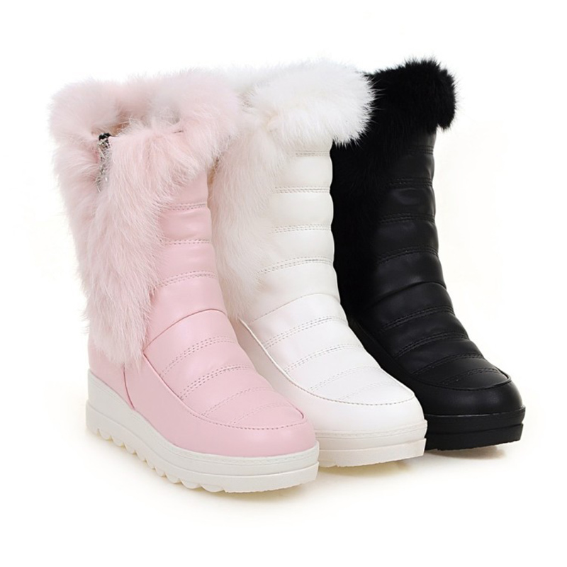 2019 New Winter High Boots Ski Boots Snow Women's Boots Plush Warm Thick XL White Zipper Shoes Warm Boots Botas De Nieve De Moda
