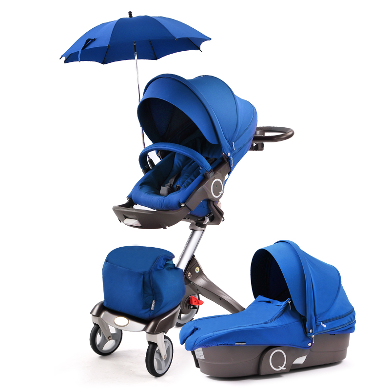 Fashion High-view Folding Stroller / Pram for 0-48 Months Baby, Two-way Pushchair,  Baby Carriage, Seat Height Adjustable baby stroller with cute ceiling swivel wheel pushchair wide seat deluxe high view traveling trolly with snack tray