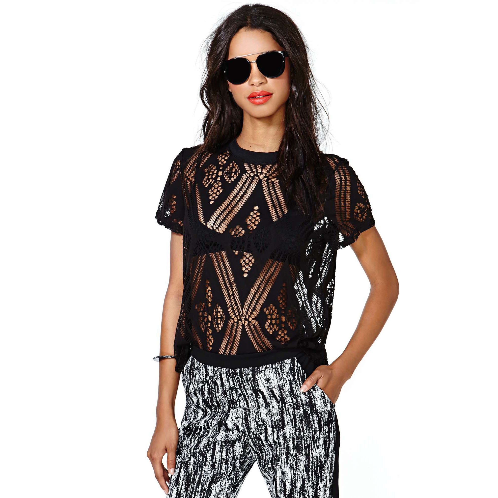 Perspectivity rhombus lace cutout <font><b>short-sleeve</b></font> o-neck <font><b>rib</b></font> <font><b>knitting</b></font> female t-shirt collar haoduoyi