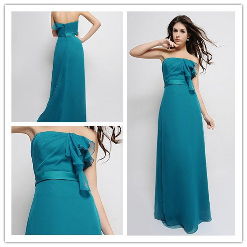 ec25aa4898c3 New arrival strapless floor length turquoise bridesmaid dress-in ...