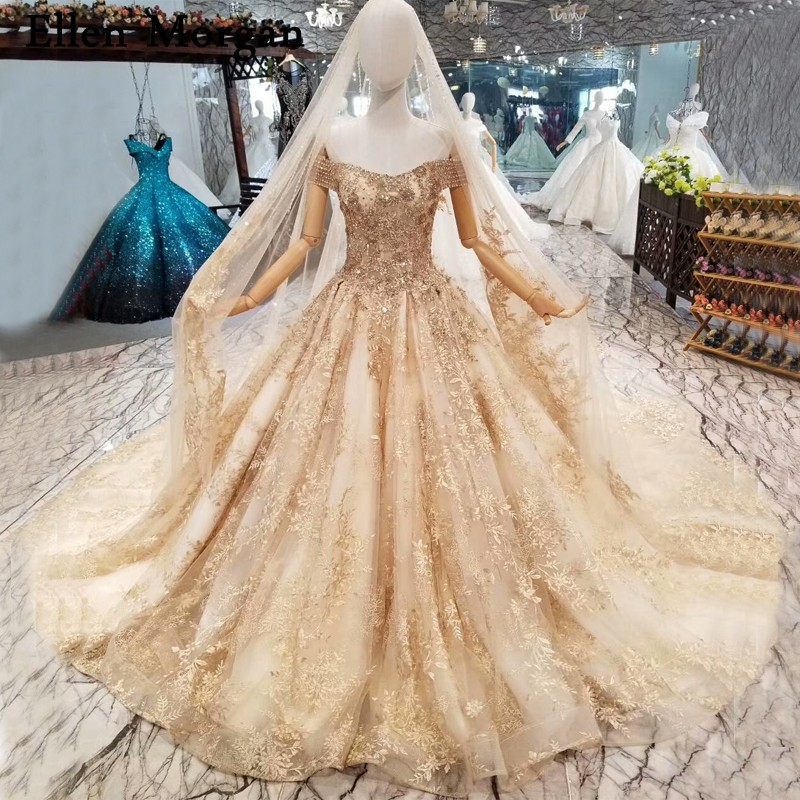 Off Shoulder Gold Lace Ball Gowns Wedding Dresses 2019 Custom Made Real  Photos Beaded Corset for Women Bridal Gowns with Veils 1bdef35c1fdb