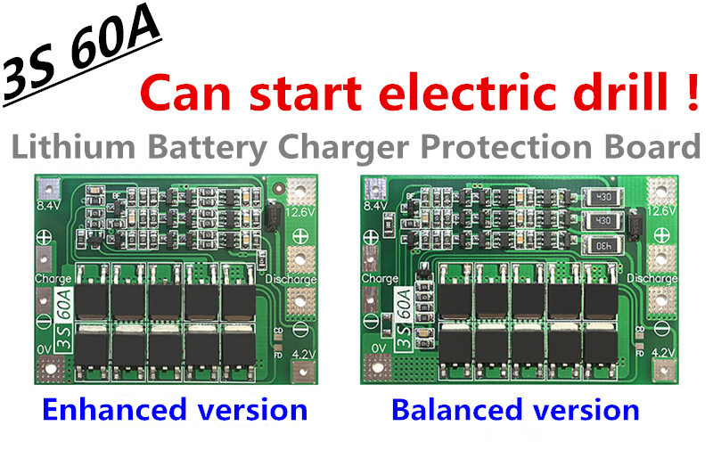 3S 60A Li-ion Lithium Battery Charger Protection Board PCB BMS For Drill Motor 12.6V 13.6V Lipo Cell Module