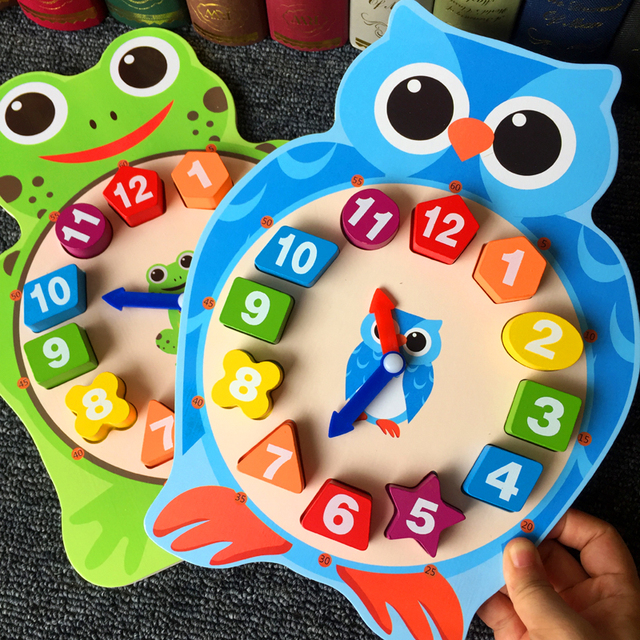Kids Montessori Digital Cartoon Clock Wooden Block Toy for Baby Learning Time Shape Color  Owl Frog Early Learning Toy