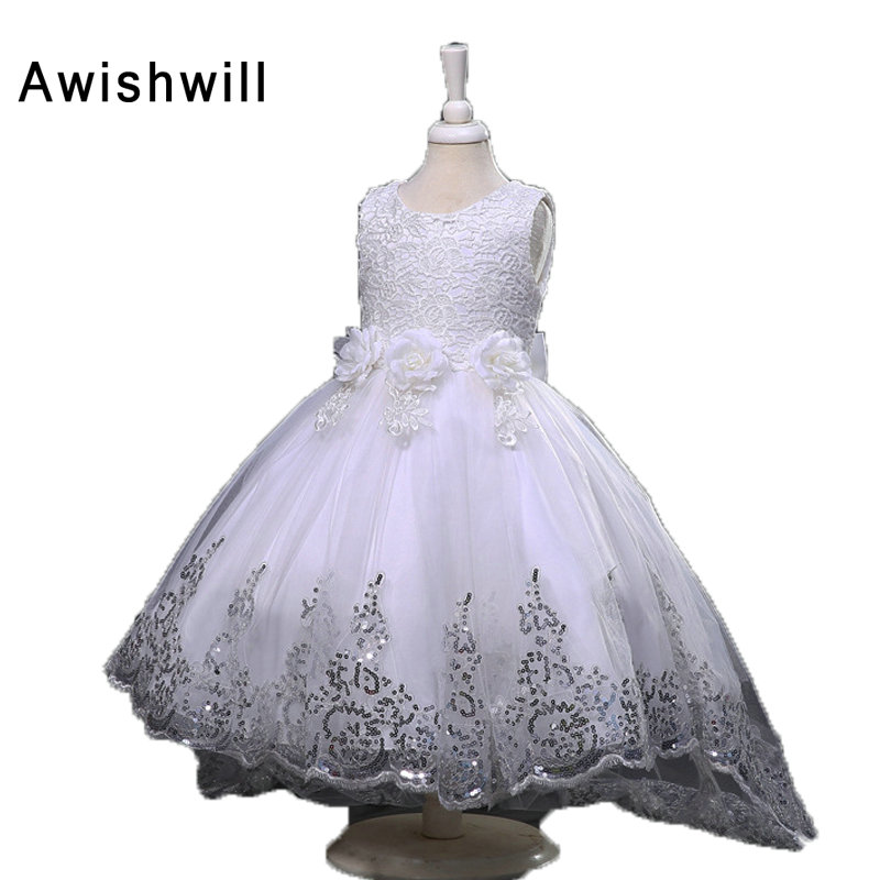 White Flower Girl Dresses With Train 8