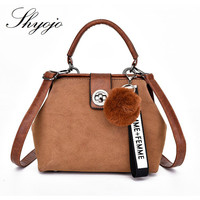 PU Leather Women Messenger Bag Solid Color Small Flap Shoulder Bag Hairball Decoration Girls Vintage Crossbody Clutches Purses