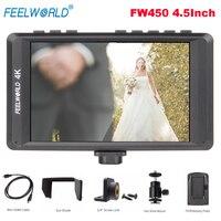 Feelworld FW450 4,5 дюйма ips 4 К HDMI на Камера поле монитор 1280x800 HD Портативный ЖК дисплей монитор для DSLR пиковый фокус Проверьте поле