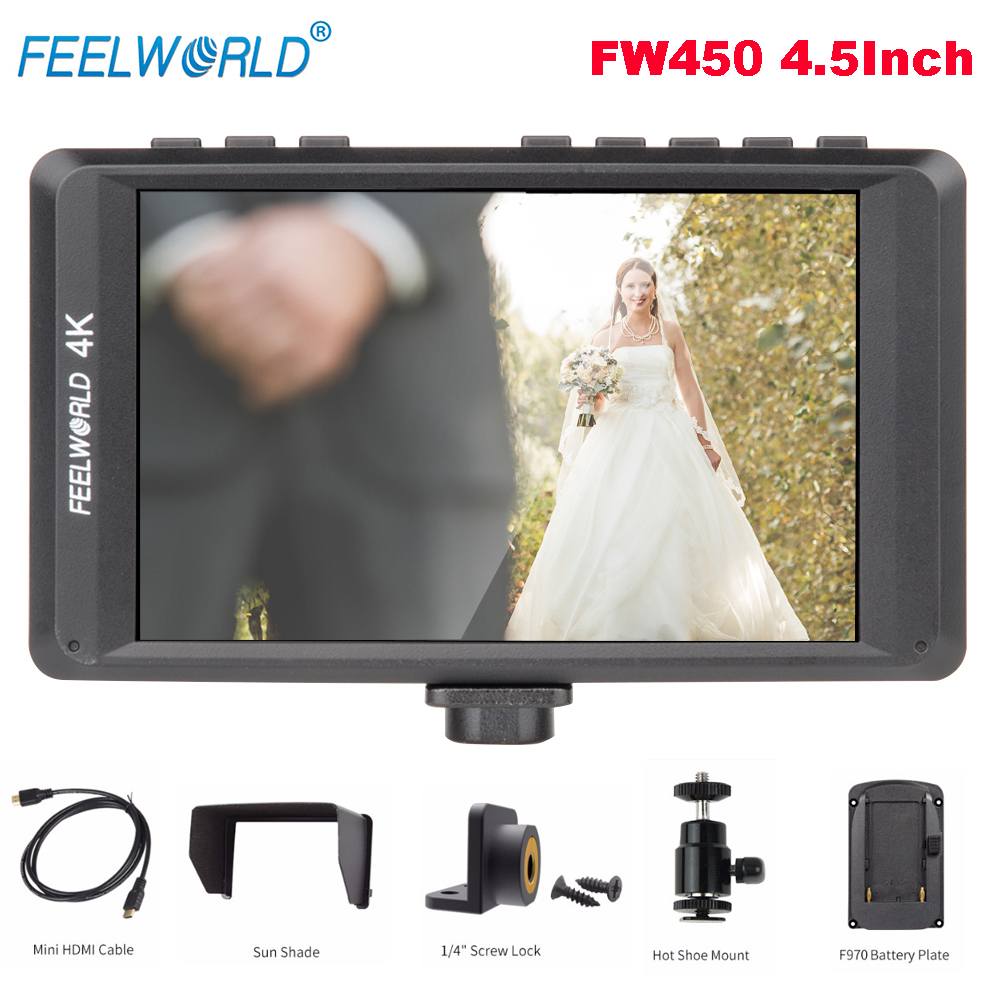 Feelworld FW450 4.5Inch IPS 4K HDMI On-Camera Field Monitor 1280x800 HD Portable LCD Monitor for DSLR Peaking Focus Check Field f450 4 5 inch ips 1280x800 hd 4k field lcd camera monitor with hdmi input output uhd peaking focus and other monitor accessory