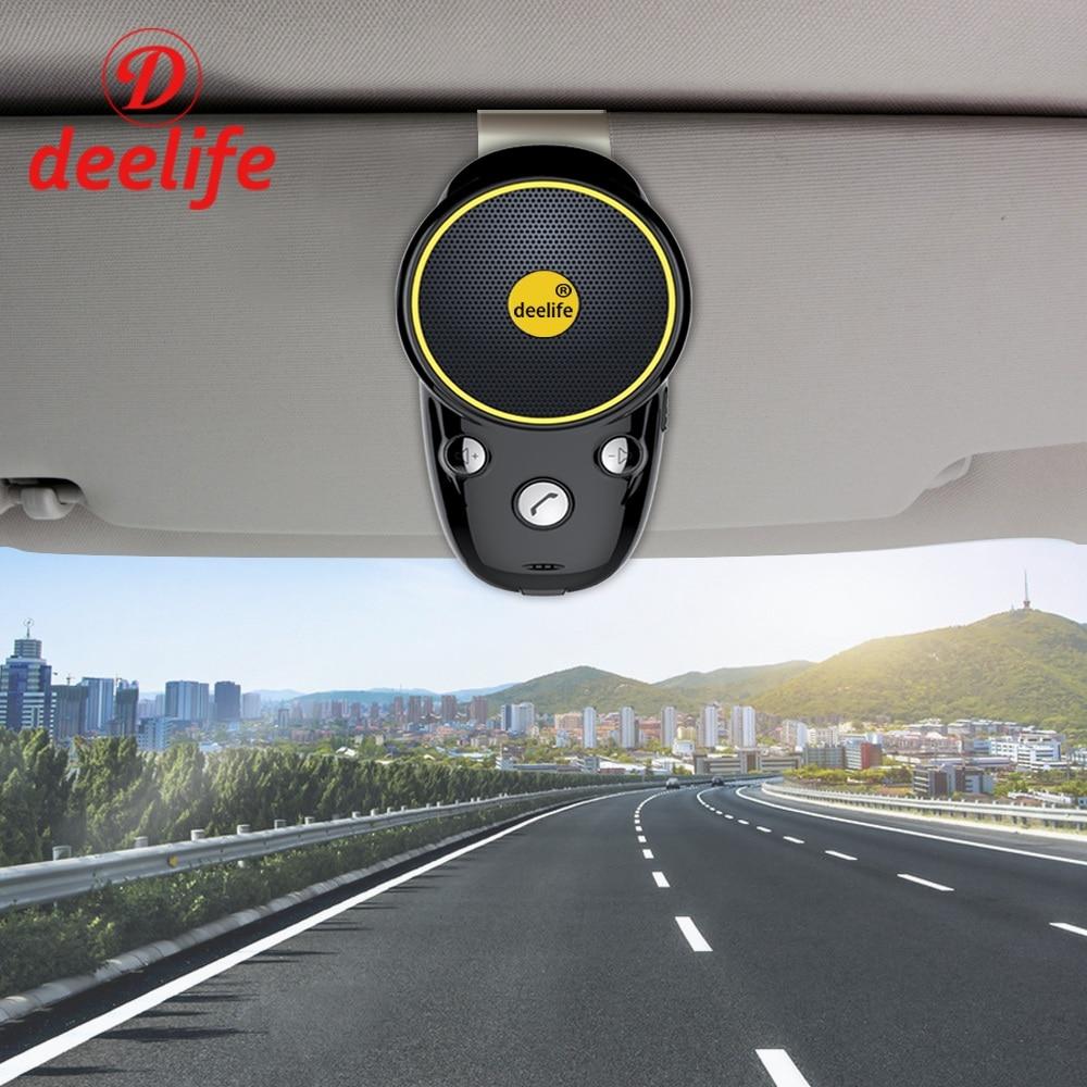 Deelife Bluetooth Handsfree Car Kit Audio Noise Cancelling Wireless Auto SpeakerPhone Adapter For Mobilephone Clip On Sun Visor