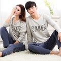 Hot High quality Lovers cotton Pajamas set Long Sleeve Round Neck summer Letters Pijama Casual Pyjamas for man and Women NoXXXL