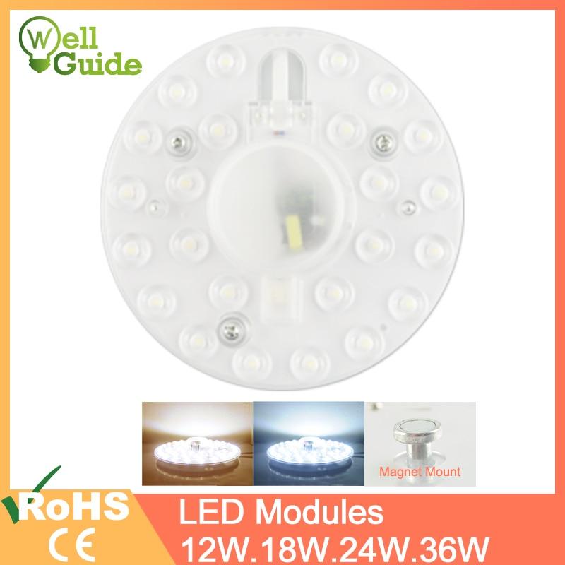 Led 모듈 led 패널 천장 조명 램프 minimodule 액세서리 교체 마그네틱 소스 라이트 보드 전구 긴 수명 220 v 12 w 18 w 24 w