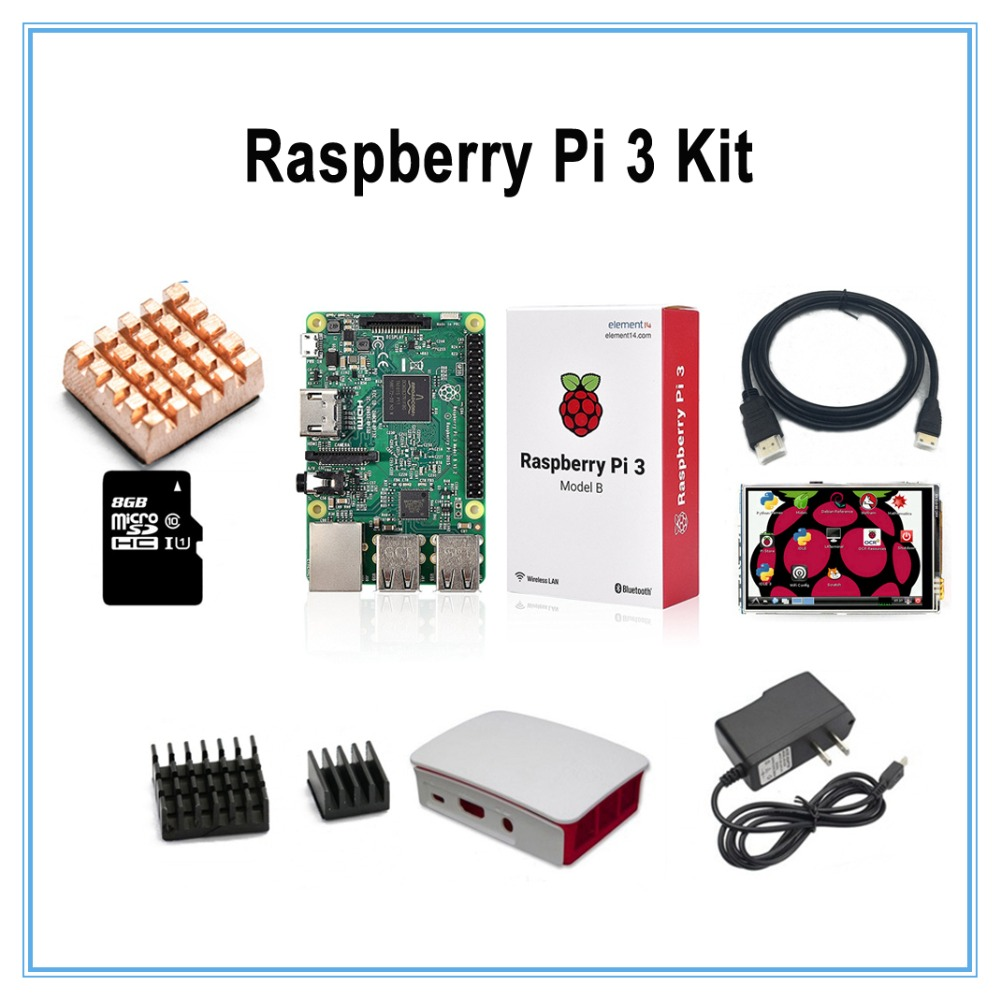 Diy Kit Raspberry Pi 3 Model B Board+New version 3.5 inch Touch Screen+8GB TF Card+2.5A Power Supply+ABS Case+HDMI Cable