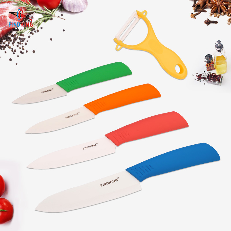 FINDKING Nouveau Zircone couteau de cuisine En Céramique Couteau set 3 4 5 6 pouces + Éplucheur + Couvre Chef Fruits Utilitaire Couteau